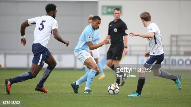 Manchester City's Lukas Nmecha in action during the Premier League 2 match between Manchester City and Tottenham Hotspur at Manchester City Football...