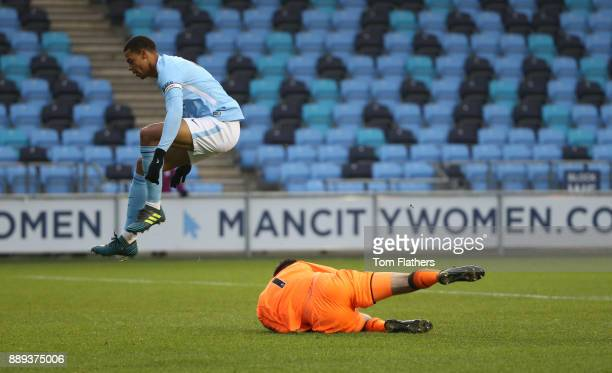 Manchester City's Lukas Nmecha in action during the Premier League 2 match between Manchester City EDS and Arsenal U23 at Academy Stadium on December...