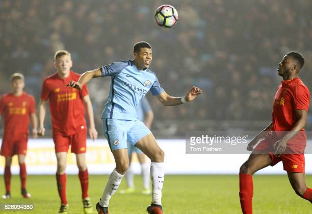 Manchester City's Lukas Nmecha scores against Liverpool in the FA Youth Cup