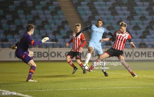 Manchester City's Lukas Nmecha scores against Southampton