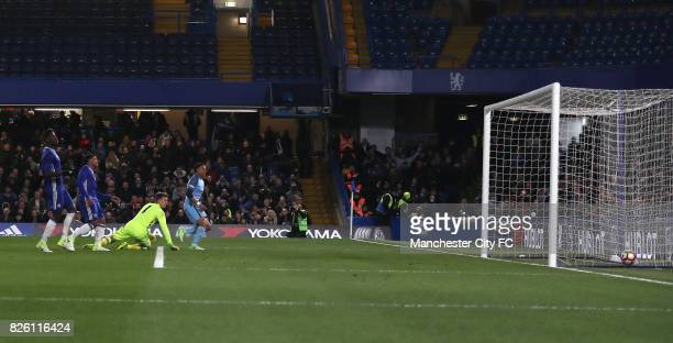 Manchester City's Lukas Nmecha scores his side's first goal of the game