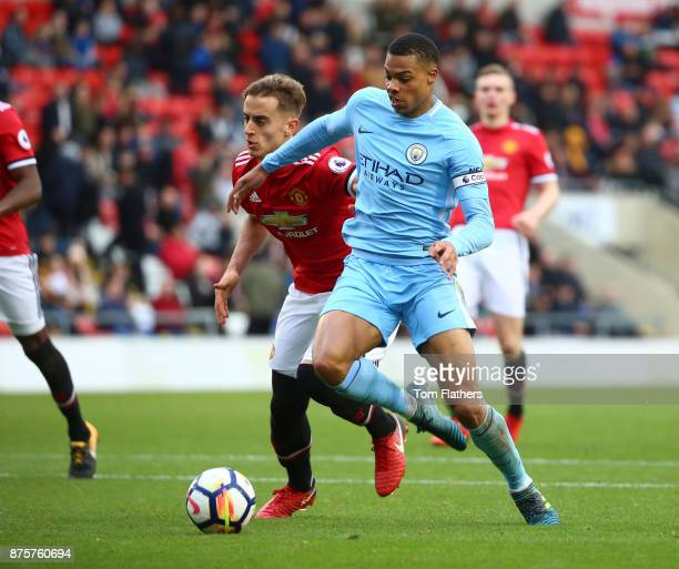 Manchester City's Lukas Nmecha scores to make it 11 during the Premier League 2 match between Manchester United v Manchester City at Leigh Sports...