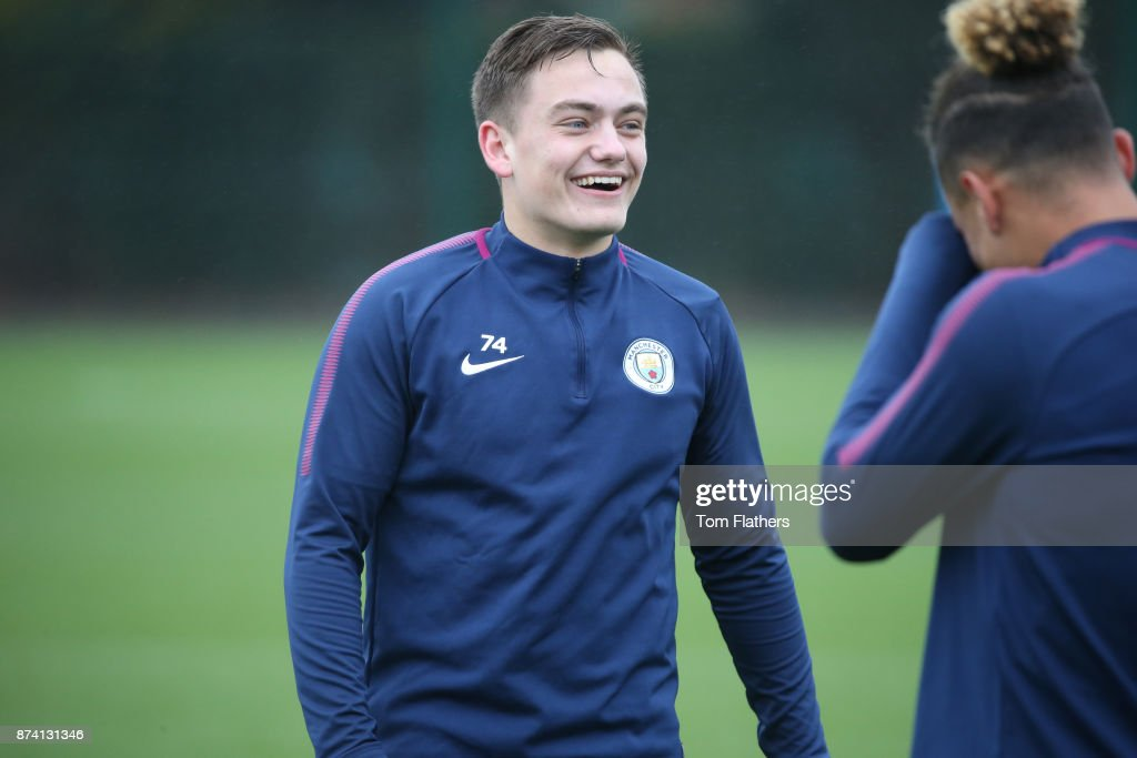 Manchester City's Luke Bolton during training at Manchester City Football Academy on November 14, 2017 in Manchester, England.
