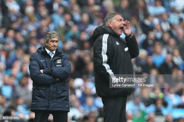 Manchester City's manager Manuel Pellegrini and West Ham United's manager Sam Allardyce