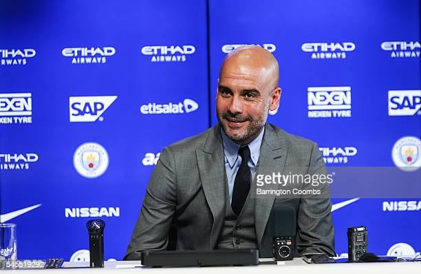 Manchester City's manager Pep Guardiola attends a press conference at Etihad Stadium on July 8 2016 in Manchester England