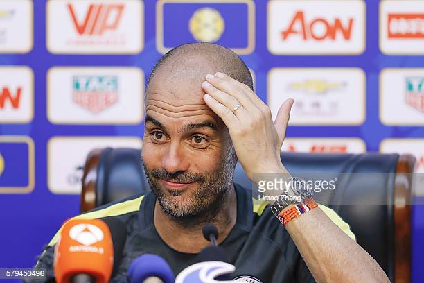 Manchester City's manager Pep Guardiola attends a press conference for 2016 International Champions Cup match between Manchester City and Manchester...