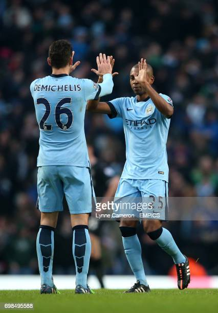 Manchester City's Martin Demichelis and Manchester City's Fernandinho after the final whistle