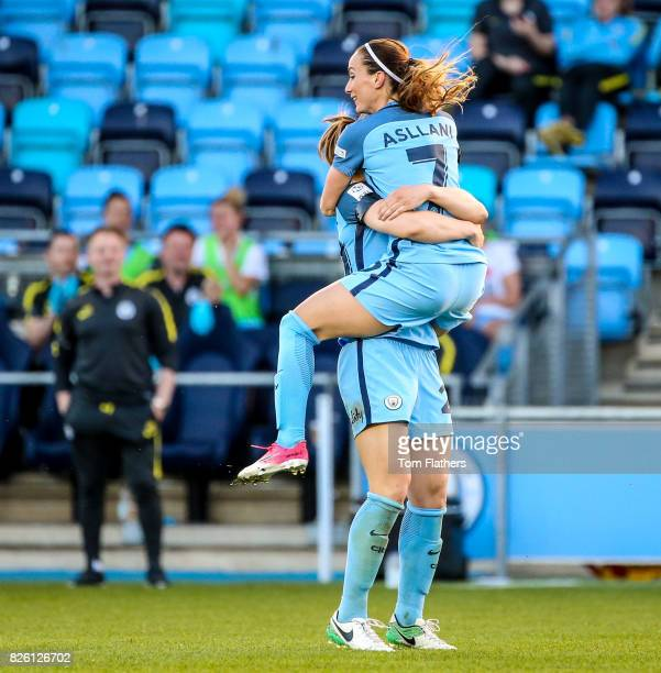 Manchester City's Megan Campbell and Kosovare Asllani in action against Chelsea