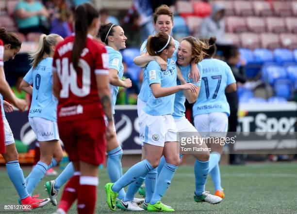 Manchester City's Megan Campbell celebrates scoring against Liverpool