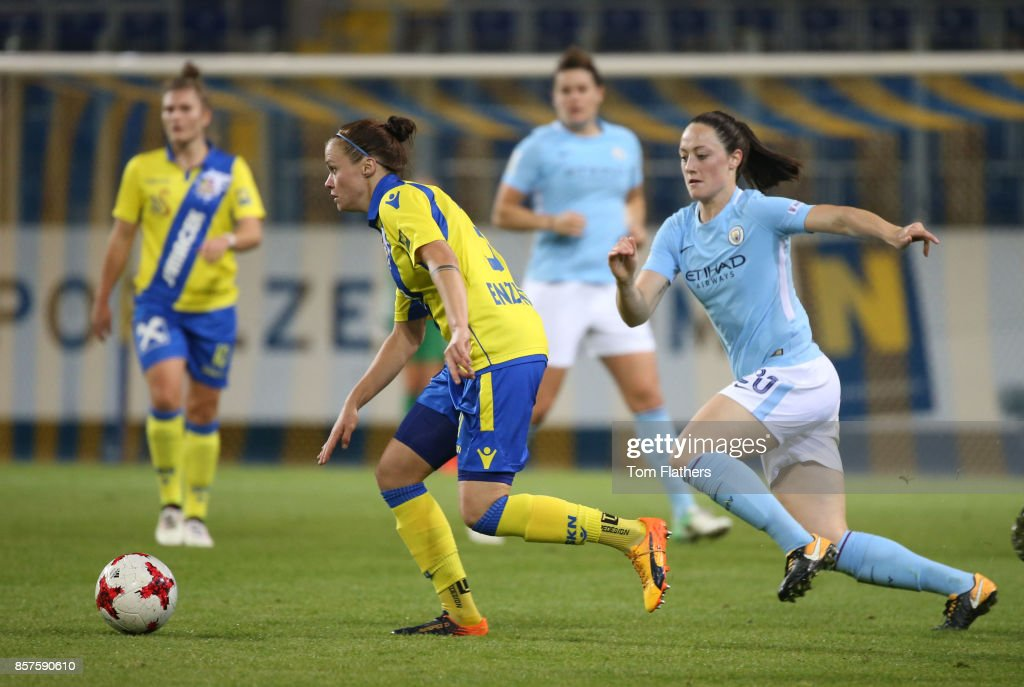 Manchester City's Megan Campbell in action against St. Polten on October 4, 2017 in St. Poelten, Lower Austria.