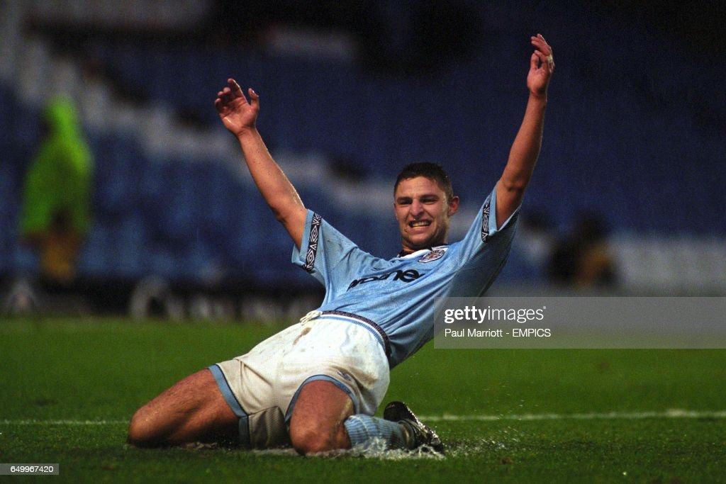 Manchester City's Michel Vonk celebrates scoring against Ipswich Town
