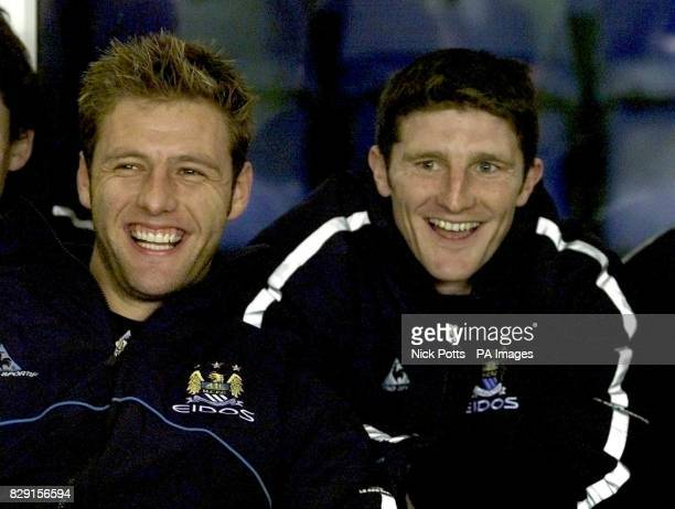 Manchester City's new signing Jon Macken sits on the bench with Carlo Nash before their Nationwide Division One game against host's Birmingham at St...