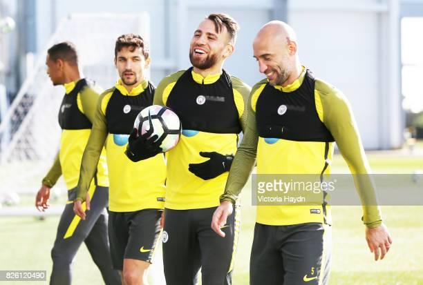 Manchester City's Nicholas Otamendi and Pablo Zabaleta during training
