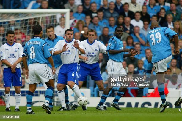 Manchester City's Nicolas Anelka scores from a free kick against Everton during the FA Barclaycard Premiership game at Maine Road Manchester THIS...