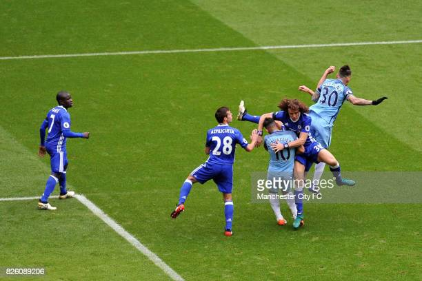 Manchester City's Nicolas Otamendi and Chelsea's Diego Costa in action during the Barclay's Premiership match at the Etihad Stadium Manchester on 3rd...