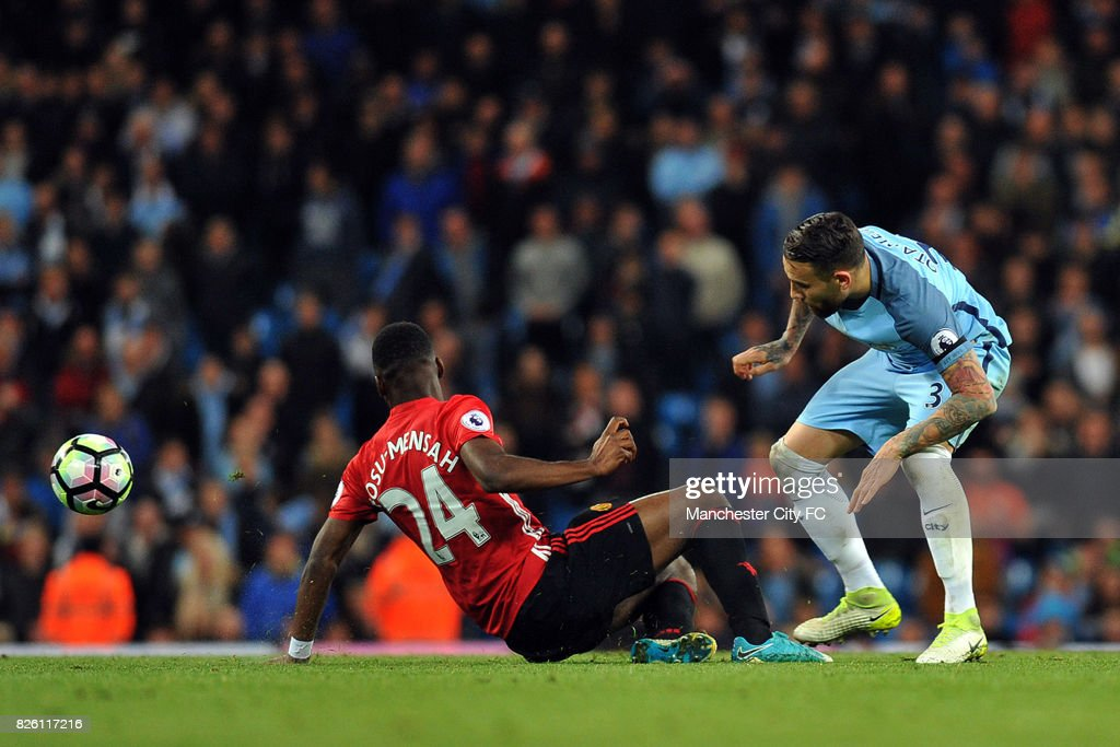 Manchester City's Nicolas Otamendi and Manchester United's Timothy Fosu-Mensah in action during the Barclay's Premiership match at the Etihad Stadium, Manchester on 27th March, 2017.