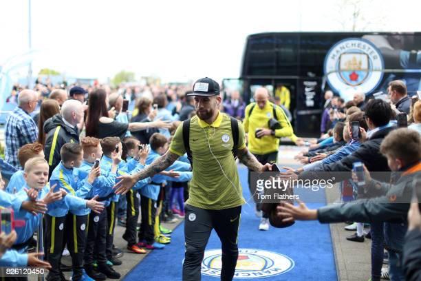 Manchester City's Nicolas Otamendi arrives at the ground