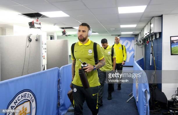Manchester City's Nicolas Otamendi arrives for the match