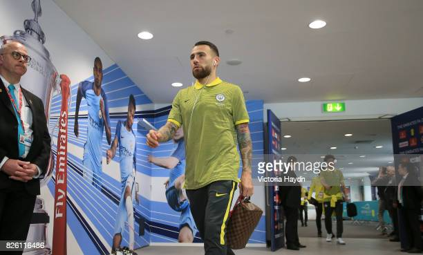 Manchester City's Nicolas Otamendi arrives prior to the match
