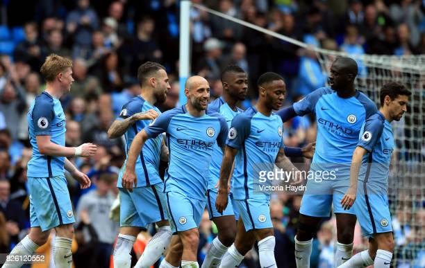 Manchester City's Nicolas Otamendi celebrates scoring his side's fifth goal of the game