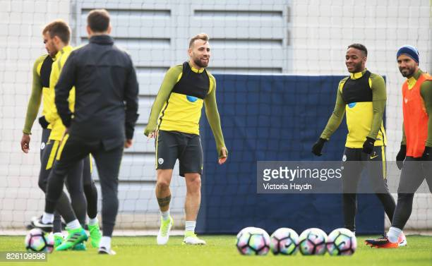 Manchester City's Nicolas Otamendi takes part in training at City Football Academy
