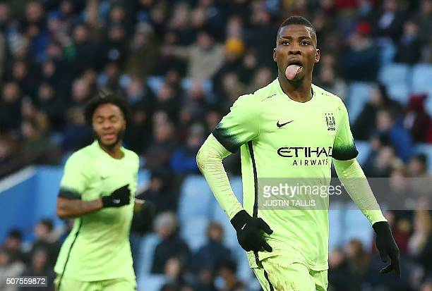 Manchester City's Nigerian striker Kelechi celebrates scoring his team's third goal during the English FA Cup fourth round football match between...