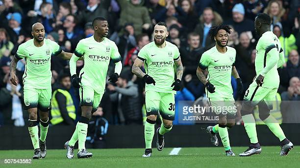 Manchester City's Nigerian striker Kelechi Iheanacho celebrates after scoring his team's first goal during the English FA Cup fourth round football...