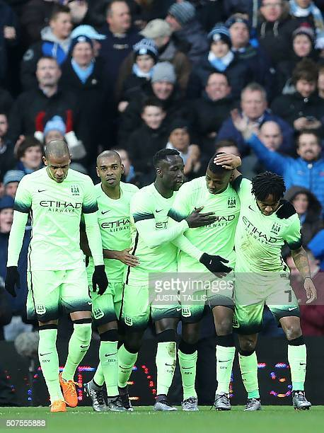 Manchester City's Nigerian striker Kelechi Iheanacho celebrates after scoring his team's second goal during the English FA Cup fourth round football...
