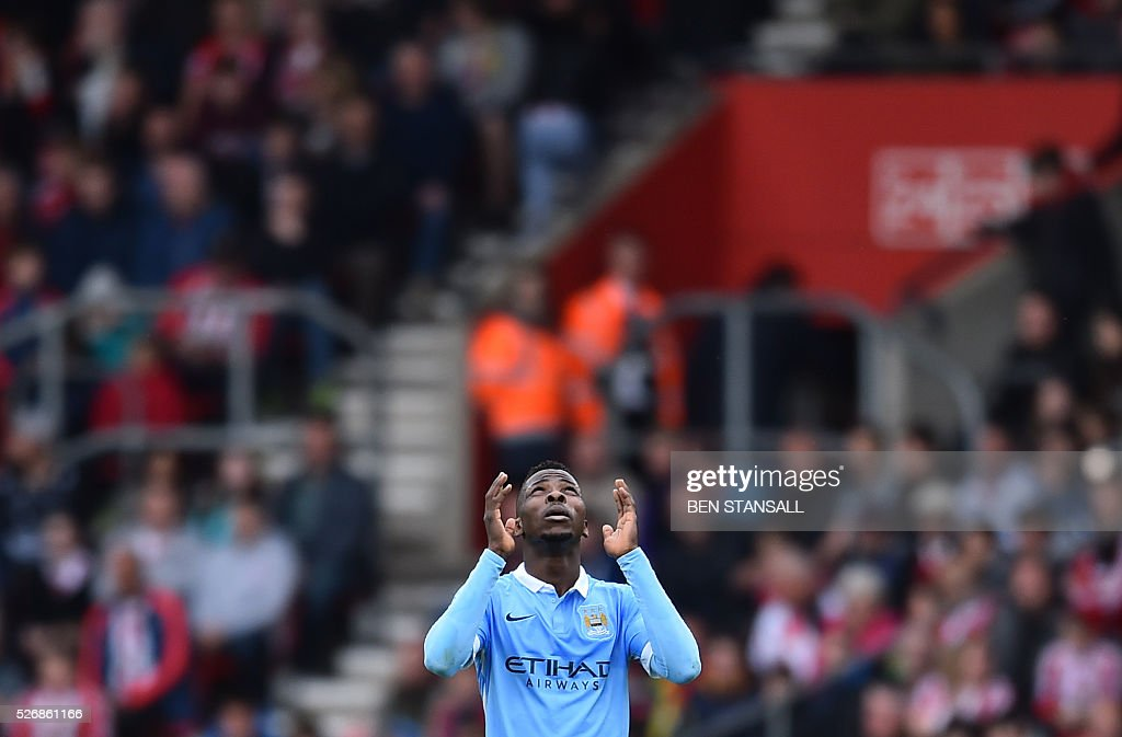 Manchester City's Nigerian striker Kelechi Iheanacho celebrates after scoring during the English Premier League football match between Southampton and Manchester City at St Mary's Stadium in Southampton, southern England on May 1, 2016. / AFP / BEN STANSALL / RESTRICTED TO EDITORIAL USE. No use with unauthorized audio, video, data, fixture lists, club/league logos or 'live' services. Online in-match use limited to 75 images, no video emulation. No use in betting, games or single club/league/player publications. /