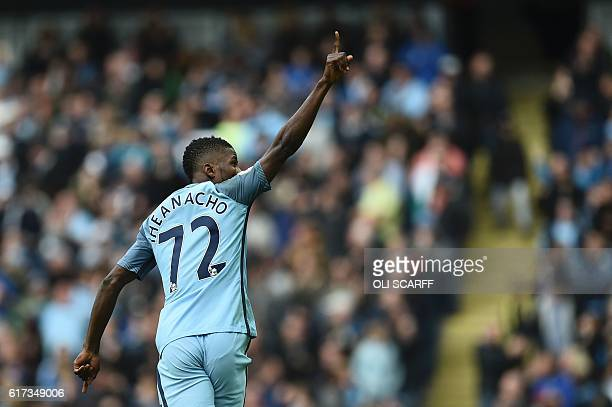 Manchester City's Nigerian striker Kelechi Iheanacho celebrates after scoring their first goal during the English Premier League football match...