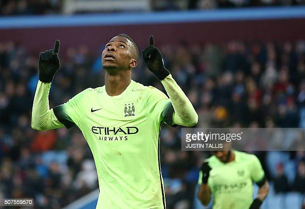 Manchester City's Nigerian striker Kelechi Iheanacho celebrates scoring his team's third goal during the English FA Cup fourth round football match...