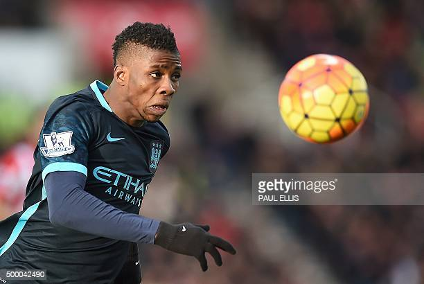 Manchester City's Nigerian striker Kelechi Iheanacho chases the ball during the English Premier League football match between Stoke City and...