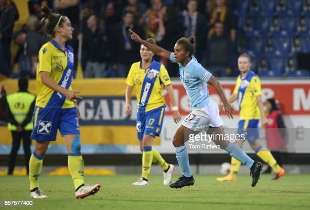 Manchester City's Nikita Parris celebrates scoring against St Polten on October 4 2017 in St Poelten Lower Austria