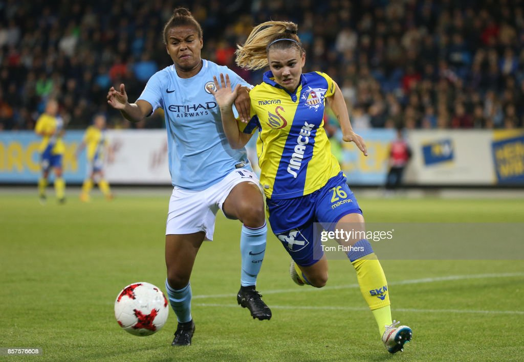 Manchester City's Nikita Parris in action against St. Polten on October 4, 2017 in St. Poelten, Lower Austria.