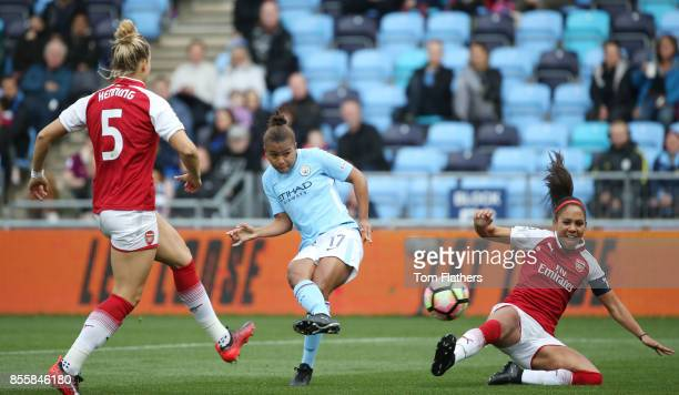 Manchester City's Nikita Parris in action at Manchester City Football Academy on September 30 2017 in Manchester England