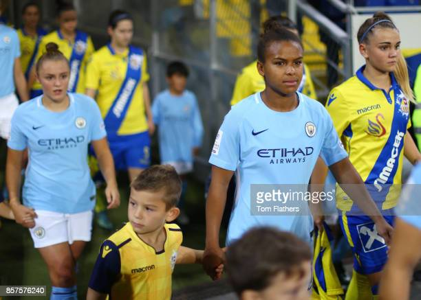 Manchester City's Nikita Parris walks out to play St Poelten in the Champions League on October 4 2017 in St Poelten Lower Austria