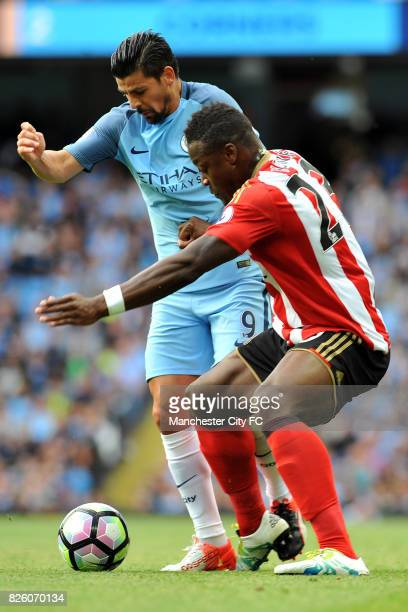 Manchester City's Nolito and Sunderland's Lamine Kone in action during the Barclay's Premiership match at the Etihad Stadium Manchester on 13th...