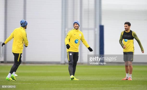 Manchester City's Nolito Sergio Aguero and Jesus Navas during training