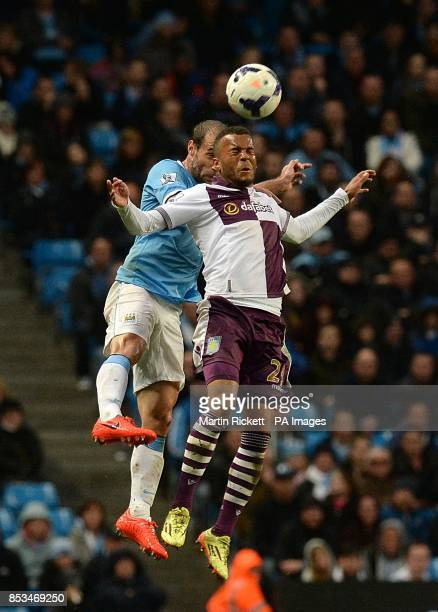 Manchester City's Pablo Zabaleta and Aston Villa's Ryan Bertrand battle for the ball