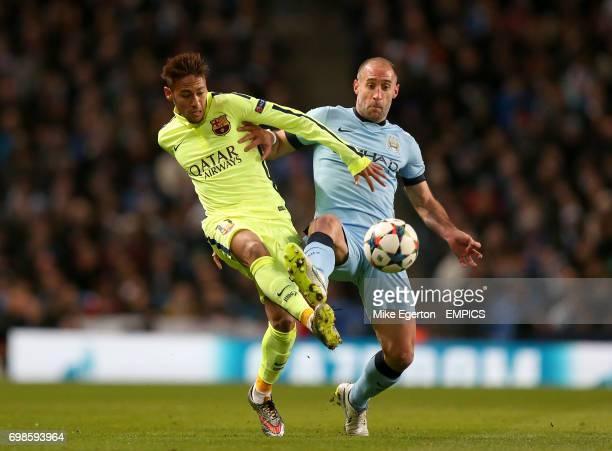 Manchester City's Pablo Zabaleta and Barcelona's Neymar battle for the ball