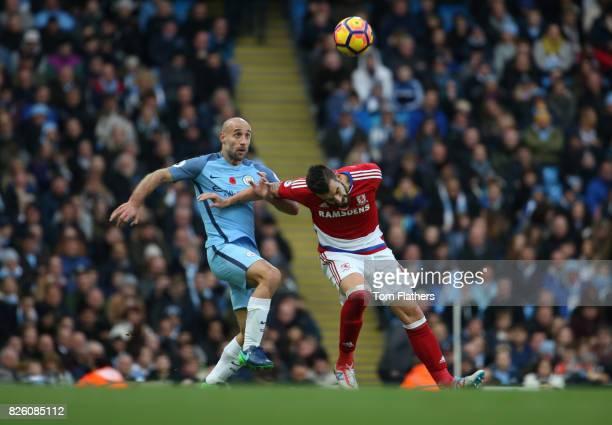 Manchester City's Pablo Zabaleta and Middlesbrough's Alvaro Negredo in action