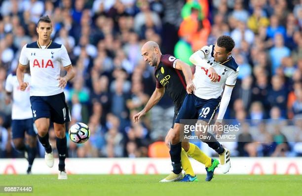 Manchester City's Pablo Zabaleta and Tottenham Hotspur's Dele Alli battle for the ball