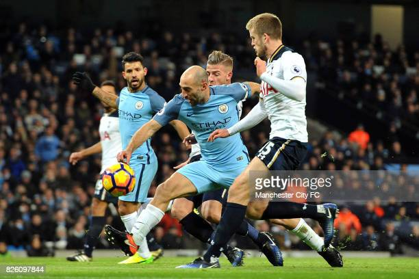 Manchester City's Pablo Zabaleta and Tottenham Hotspur's Toby Alderweireld and Eric Dier in action during the Premiership match at the Etihad Stadium...