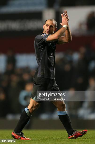 Manchester City's Pablo Zabaleta appluads away fans after the final whistle