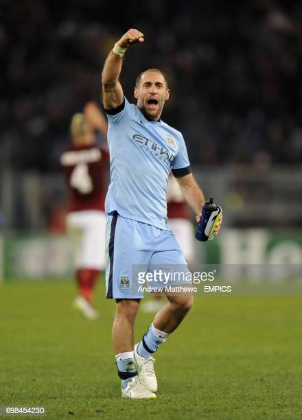 Manchester City's Pablo Zabaleta celebrates his side's win after the final whistle