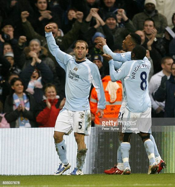 Manchester City's Pablo Zabaleta celebrates scoring his sides first goal of the game