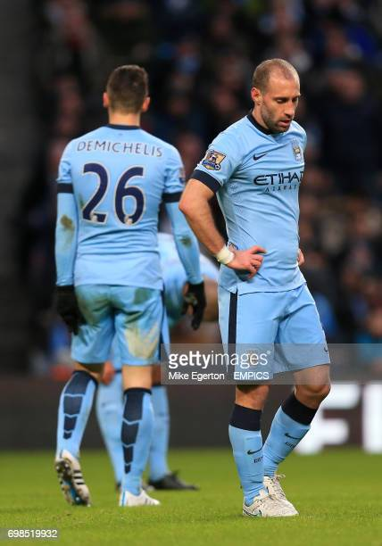 Manchester City's Pablo Zabaleta looks dejected after the final whistle