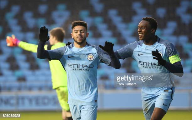 Manchester City's Paolo Fernandes and Rodney Kongolo celebrate Lorenzo Gonzalez winning goal against against Celtic in the Uefa Youth League
