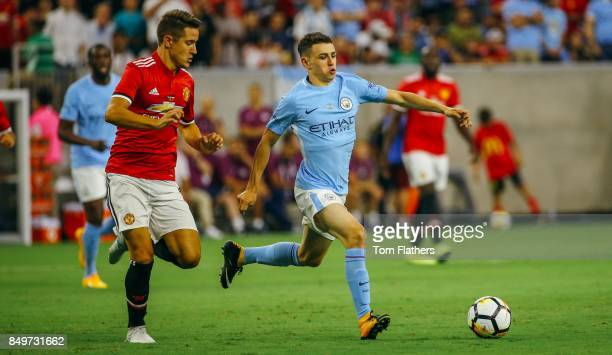 Manchester City's Phil Foden and Manchester United's Ander Herrera in action at NRG Stadium on July 20 2017 in Houston Texas