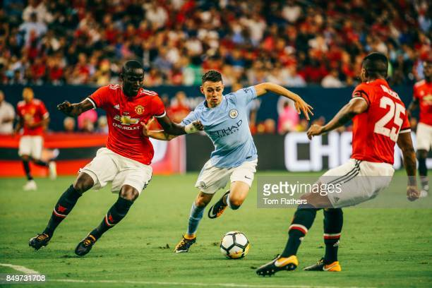 Manchester City's Phil Foden and Manchester United's Eric Bailly in action at NRG Stadium on July 20 2017 in Houston Texas